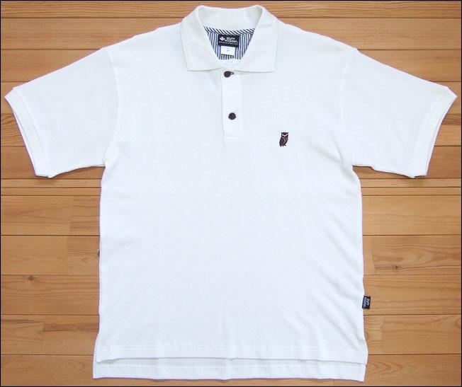 gym master ジムマスター 鹿の子フクロウ刺繍ポロ ポロシャツ フクロウ ししゅう シャツ ホワイト 半袖 ナノファイン加工 G933345