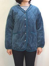 Hunch ベロアキルトジャケット ブルー ブルゾン キルティング 中綿 アウター 波型ステッチ S字ステッチ
