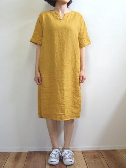 D.M.G Product made in Domingo DMG 16-514L 52-1 linen skipper dress lemon yellow hemp linen canvas linen MadeinJAPAN Japan