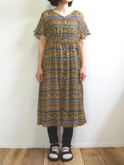 Hunch ethnic pattern dress yellow ethnic horizontal stripe petticoat chiffon WAN-9630 belonging to