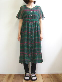 Hunch ethnic pattern dress green ethnic horizontal stripe petticoat chiffon WAN-9630 belonging to