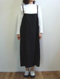 D.M.G ドミンゴ DMG 17-413L 19-8 サロペットスカート ブラック エプロンスカート リネン 麻 ワンピース スモックスカート