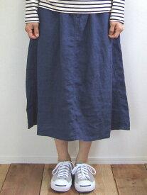 D.M.G ドミンゴ DMG 17-358L 27-4 イージータックスカート ブラスト ネイビー リネンキャンバス 麻 リネン MadeinJAPAN 日本製