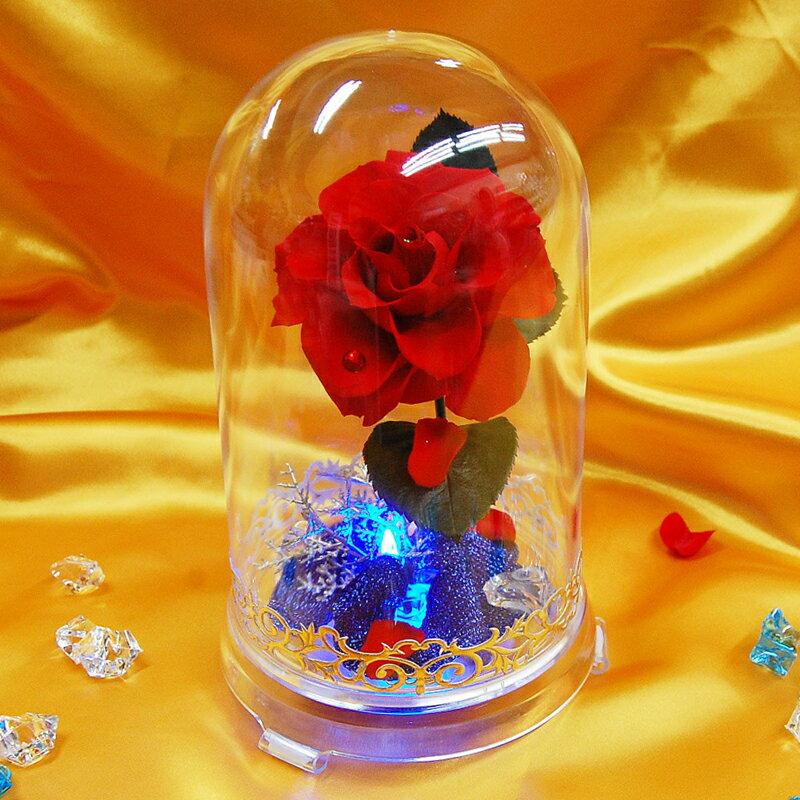 プリザーブドフラワー ギフト 光る 美女と野獣/あす楽 送料無料 即日発送 メッセージカード付き 花 プレゼント ドーム 誕生日 結婚祝い LED お返し かわいい おしゃれ ディズニー 映画