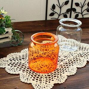 オレンジ ガラス瓶(洋食器 ガラス 瓶 収納 ボトル 容器 花瓶 お洒落 日用品 インテリア 雑貨 アウトレット 業務用 日本製)