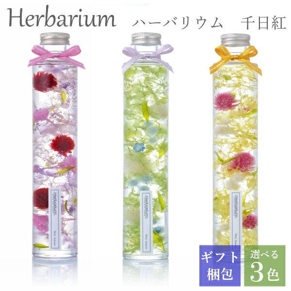 ハーバリウム 母の日 ギフト プレゼント ロングボトル 丸瓶 千日紅 全3色