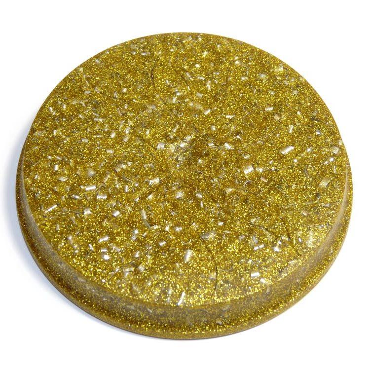 ボヘミアンオルゴナイト ゴールドのコースター《オルゴナイト》 9.3×1cm 空間がパワースポットになるオルゴナイト スピリチュアルの国チェコの認定ボヘミアンオルゴナイト[オルゴナイト/ボヘミアンオルゴナイト/パワーストーン/天然石/オルゴナイト/正規輸入品/コースター]