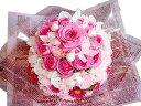 ケーキフラワー『キュート&プリティー』【生花 ケーキ型アレンジメント フラワーケーキ 】【ピンク 白】【バラ カーネーション スイー…