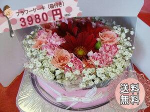 【送料無料】ケーキ6号サイズと同じ大きさ!ボリュームたっぷりです!フラワーケーキ(flower cake)【生花アレンジ】【花・スイーツ】【フラワーギフト】【マラソン201405_送料無料】
