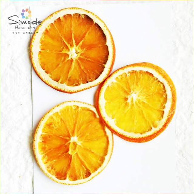 【S-593】押しフルーツオレンジ3枚押し花額やレジンアクセサリー制作などハンドメイド素材として人気です飛騨で手作りしています。国産品の安心品質です!