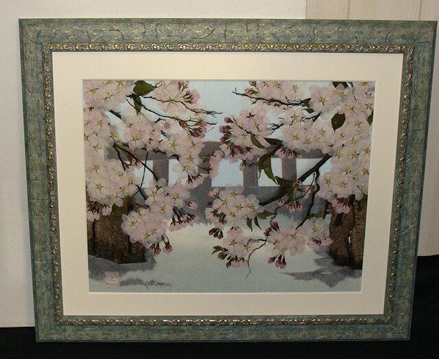 押し花額 川沿いの桜【飛騨】【山野草】【押し花素材】【手作り】