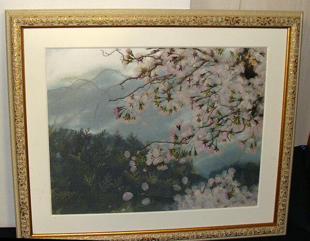 押し花額 小雨に散る桜【飛騨】【山野草】【押し花素材】【手作り】