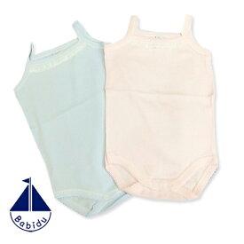 インポート ベビー 肌着 Babidu (バビドゥ) 胸元レースのキャミソールボディ [ブルー/ピンク] (3ヶ月6ヶ月12ヶ月18ヶ月)ショートオール 正規品 可愛い 出産祝い ギフト プレゼント 半袖  タンクトップ  ロンパース インナー