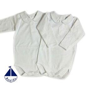Babidu (バビドゥ) ピケ衿付き長袖ボディ(後ろスナップ) [ピンク/ブルー] (3ヶ月:6ヶ月:12ヶ月)ショートオール 正規品 可愛い 出産祝い ギフト プレゼント 長袖  Tシャツ ロンパース ベビー 肌着 インナー