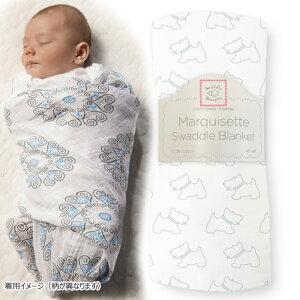 赤ちゃんおくるみ 高級素材 SwaddleDesigns(スワドルデザインズ)マーキゼット ブランケット [リトルドギー]カラー:ブルー正規品 可愛い 出産祝い ギフト プレゼント コットン