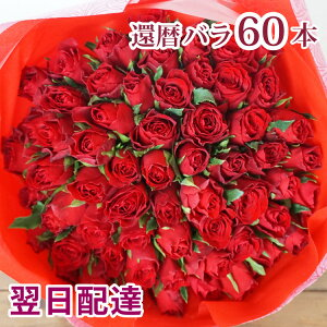 【あす楽休止中】還暦祝い 赤バラ60本 花束 フラワーギフト プレゼント バラ 薔薇 還暦 花 お花 御祝 お祝い 誕生日 記念日 お祝い 生花 60本生花 賀寿祝い 長寿祝い ギフト【即日発送】画像