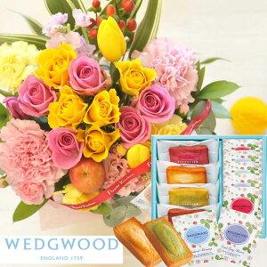 花とスイーツのセット10本バラアレンジメントとフィナンシェ&「ウェッジウッド」ティーバッグセット 9個 WEDGWOOD(ウェッジウッド) 送料無料 北海道・九州・沖縄お届け不可生花 花束 メッセ