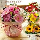 【あす楽】旬のおまかせ スタンディングブーケ 花束期間限定 ひまわり送料無料 メッセージカード花瓶いらずの花束 花 …