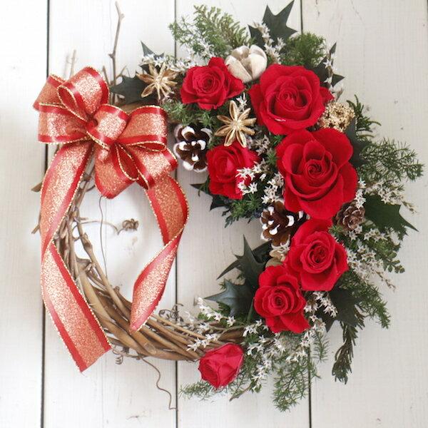 リース プリザーブドフラワー リース【ギフト】【☆赤バラとスターアニスのリース】クリスマス/誕生日プレゼント/新築祝い/引越し祝い/還暦祝い