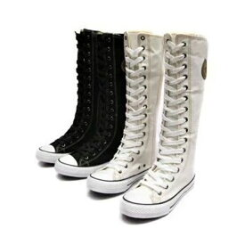 スニーカーブーツ ロング ハイカットスニーカー レディース ヒップホップ系 ズック靴 フラットシューズ 靴 キャンバススニーカー 厚底スニーカー ハイカット インヒール 編み上げ ロングブーツ 無地 hiphop ダンス靴 カジュアル お洒落 ロングスニーカー ブーツ