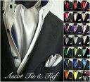 【送料無料】アスコットタイ ポケットチーフ 2点セット 25COLOR★ 2点セットでこの価格! 結婚式 ネクタイ necktie