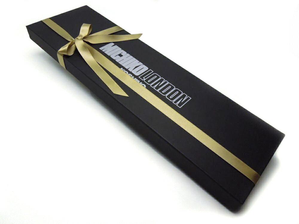 MICHIKO LONDONネクタイ1本箱 ラッピングマットブラック(つや消しの黒)/ラッピングBOXで贈り物に最適!GIFT−J