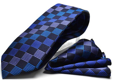 【ポケットチーフ】【HUGOVALENTINOネクタイ】(8cm幅)ブルー/ブロック柄/cpn-h-134