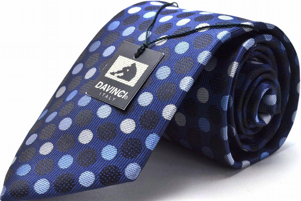 【50%OFF】ブランドネクタイ♪PDA-4【DAVINCI】8cm幅ネクタイ(ポリ)/ブルー/ドット