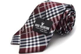 【スリム】(6.5cm幅)【HUGO VALENTINO】【ネクタイ】チェック/ボルドー/HFS-307
