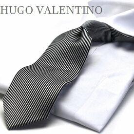 【HUGO VALENTINO】ネクタイ/モノトーン/TYPE-E-103 ブラック/シルバー/縦柄