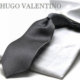 【HUGO VALENTINO】ネクタイ/モノトーン/TYPE-E-105 /ブラック/グレー/縦柄