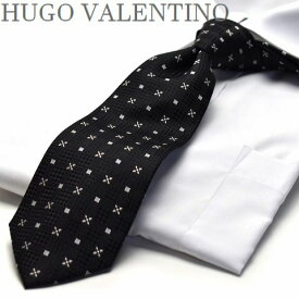 【HUGO VALENTINO】ネクタイ/モノトーン/TYPE-E-116/ブラック/シルバー/デザイン柄