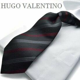 【HUGO VALENTINO】ネクタイ/ジャガード/TYPE-E-522/ブラック/エンジ/ストライプ