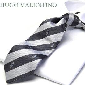 【HUGO VALENTINO】ネクタイ/ジャガード/TYPE-C-24/シルバー/チャコールグレー/エンブレム/ストライプ柄