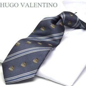 【HUGO VALENTINO】ネクタイ/ジャガード/TYPE-C-27/チャコールグレー/シルバー/ブルー/エンブレム/ストライプ柄