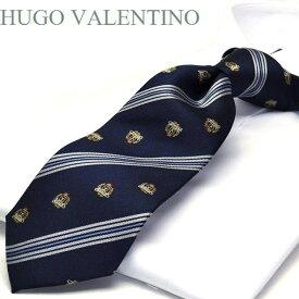 【HUGO VALENTINO】ネクタイ/ジャガード/TYPE-C-29/ダークネイビー/シルバー/ブルー/エンブレム/ストライプ柄