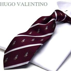 【HUGO VALENTINO】ネクタイ/ジャガード/TYPE-C-31/エンジ/シルバー/ピンク/エンブレム/ストライプ柄
