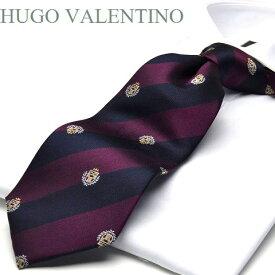 【HUGO VALENTINO】ネクタイ/ジャガード/TYPE-C-34/ダークネイビー/ワイン/エンブレム/ストライプ柄