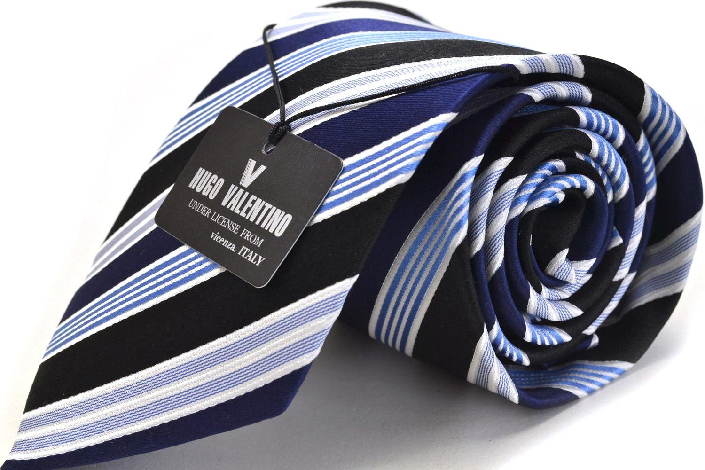 【HUGO VALENTINO】【ネクタイ】新柄入荷!! TYPE-1 水色/ストライプ/ブラック/ブルー/シルク ブランド