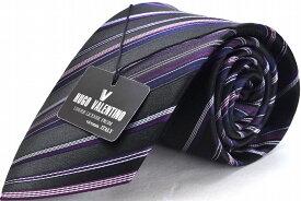 HUGO VALENTINO【ネクタイ】TYPE-101-Y ブラック/藤色/ピンク/ストライプ/シルク/Silk/Necktie