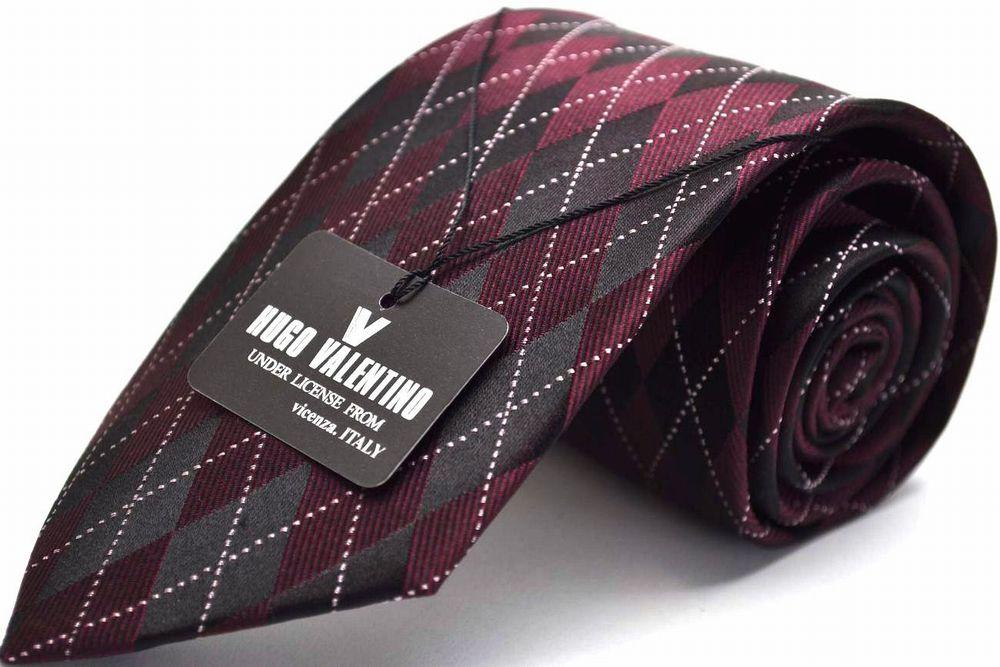 【冬物入荷】HUGO VALENTINO 【ネクタイ】TYPE-14-Yアーガイル/ブラック/ワイン【Necktie】