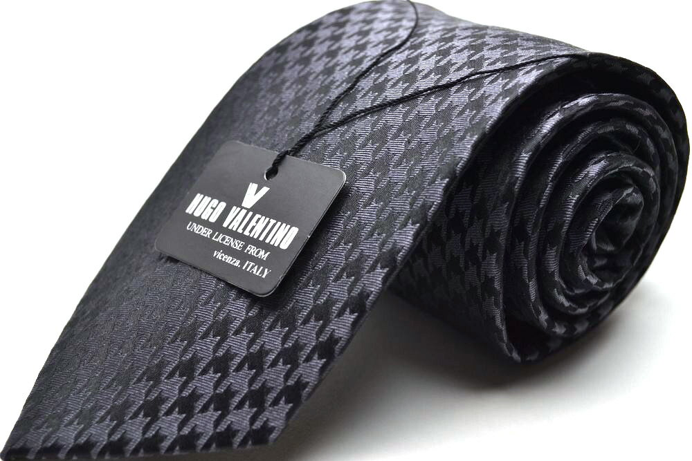 【HUGO VALENTINO】ネクタイ TYPE-79-Yチャコールグレー/雀格子/ブランド/Necktie