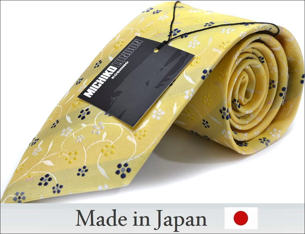 【冬物入荷】【日本製】ネクタイ M-54-Y【MICHIKO LONDON】黄色/花柄【シルク】【Silk Necktie】