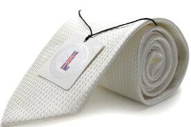 【フォーマルネクタイ】 MICHIKO LONDON 【日本製】 白/ホワイト/千鳥柄/結婚式 礼装 ブランド brand シルク silk フォーマル formal ネクタイ necktie 【MLA-175】