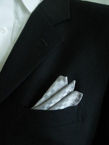 シルクジャガードポケットチーフPO−157【ブロックチェック】シルバー/グレー05P06May15