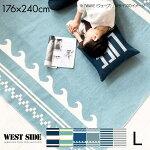 洗える日本製ラグマット(176×176cm)ウエストサイドマリンボーダー丸洗いじゅうたんおしゃれカーペットラグマットウォッシャブル新生活