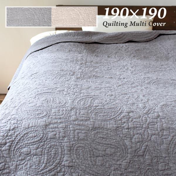 【送料無料】マルチカバー ソファーカバー ペイズリー 約190×190cm キルト 先染め ソファーカバー かわいい ベッドスプレッド キルティング ナチュラル ラグ おしゃれ 丸洗い ベッドカバー キルトカバー