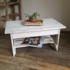 リサイクルウッド・幅80cmリビングテーブル ホワイト 机 テーブル ローテーブル 木製 センターテーブル 座卓 ちゃぶ台 アンティーク風 天然木 無垢