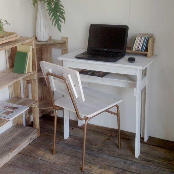 【送料無料】リサイクルウッド デスク2 ホワイト木製 木製デスク PCデスク デスク 学習机 机 コンパクトデスク コンパクトPCデスク アンティーク風 天然木 無垢