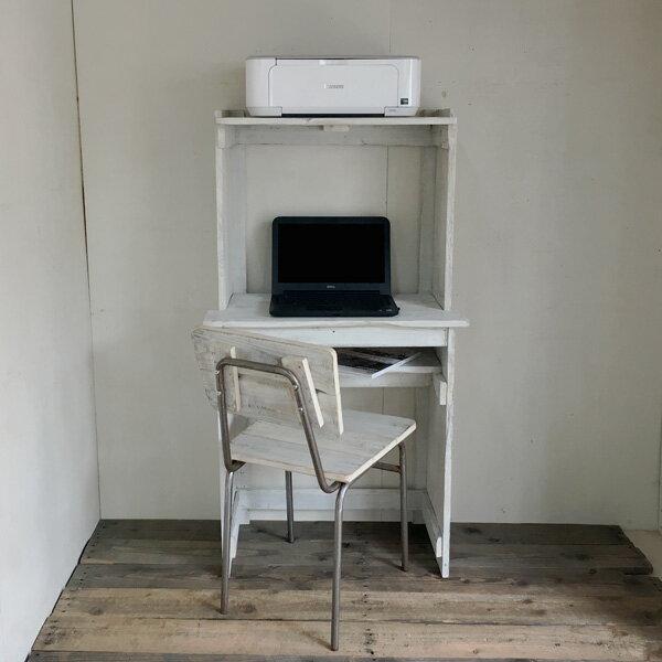 【送料無料】リサイクルウッドパソコンデスク プリンタスタンド一体型 ホワイト木製 木製デスク PCデスク デスク 学習机 机  コンパクトPCデスク アンティーク風 天然木 無垢